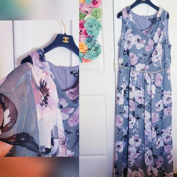 New SLNY Floral Cowl Maxi Evening Dress Gown 18W